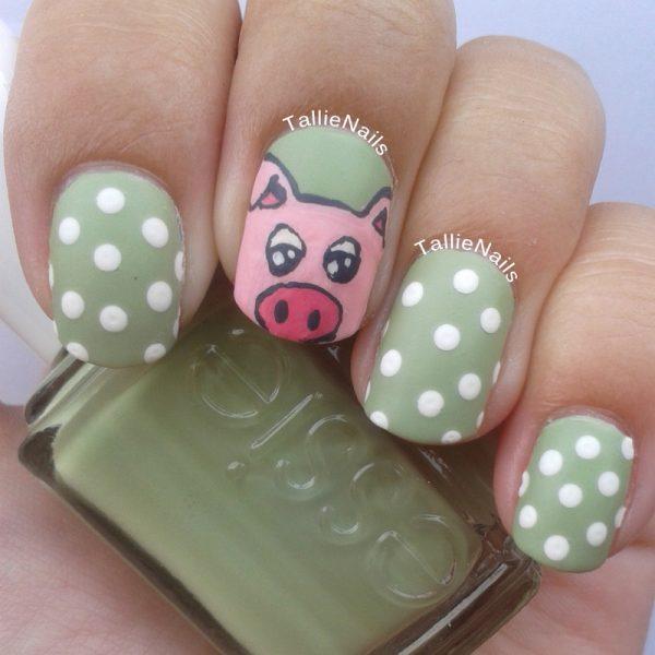 percy the pig polka dots nailart bmodish
