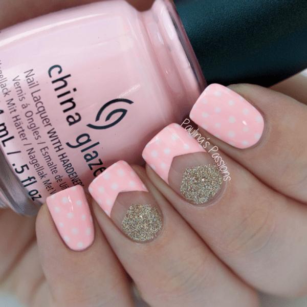 polka dots with negative chevron nails bmodish