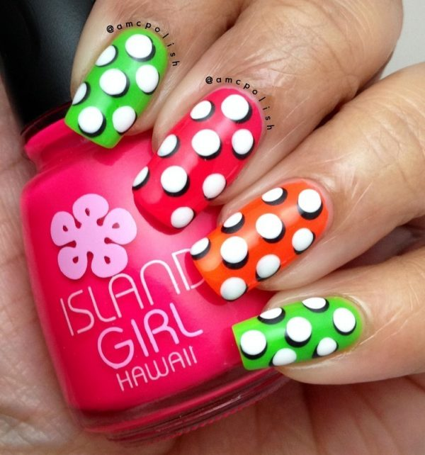 pop art polka dots nails bmodish