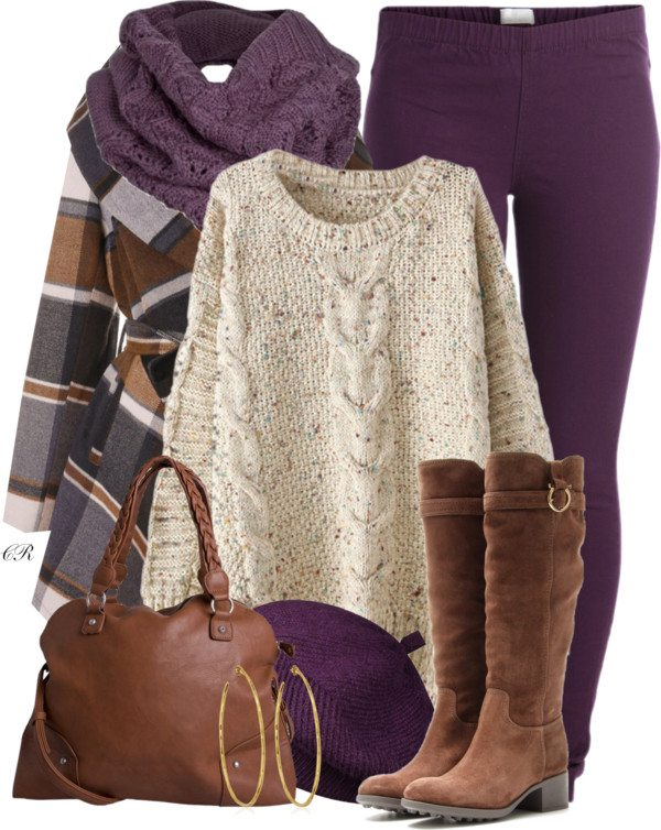 purple legging and tall boots fall outfit bmodish 2014