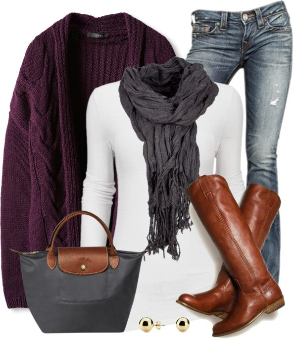 purple oversize cable knit cardigan fall outfit bmodish 2014
