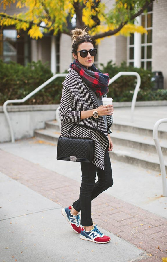 red plaid scarf casual fall fashion bmodish