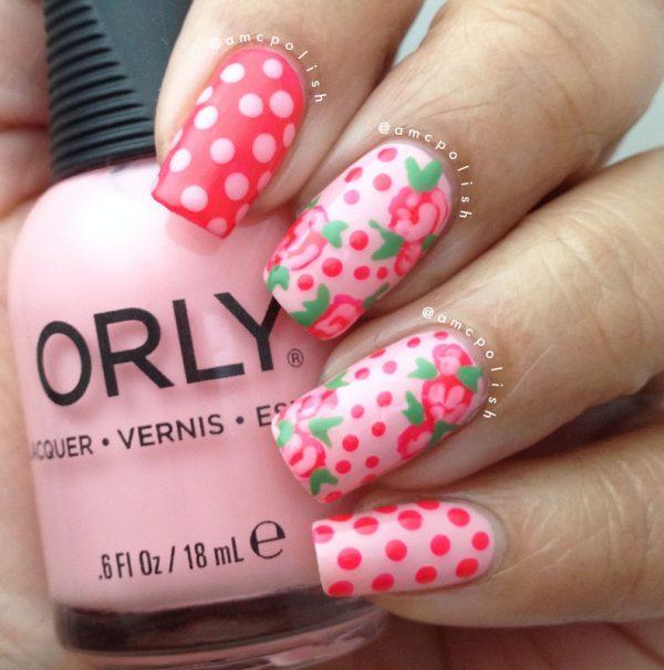 roses and polka dots nailart bmodish