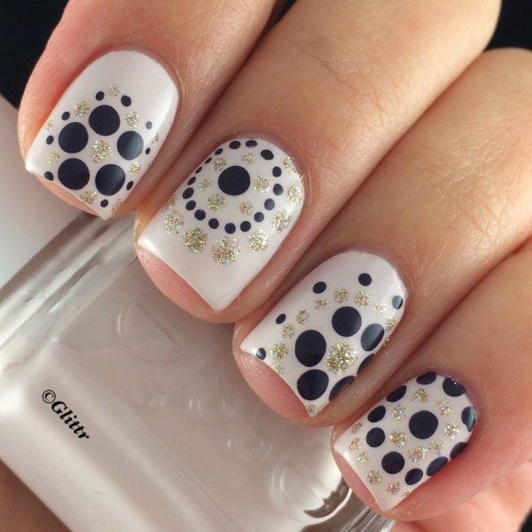 silver and black dotticure nails bmodish