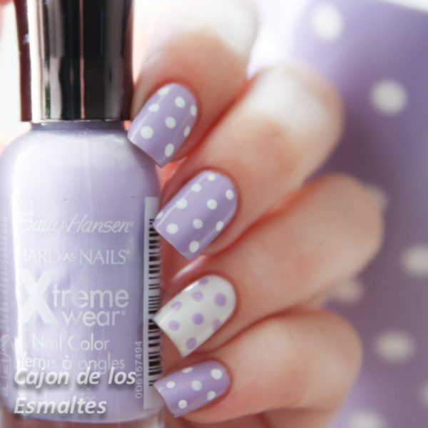 soft purple polka dots nailart bmodish