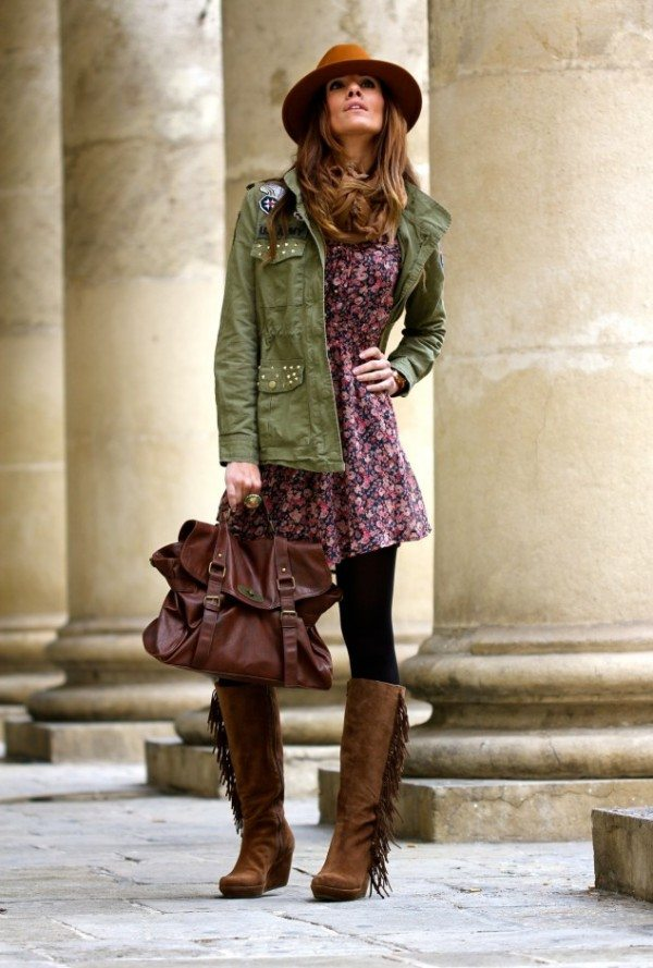 summer dress with military jacket bmodish