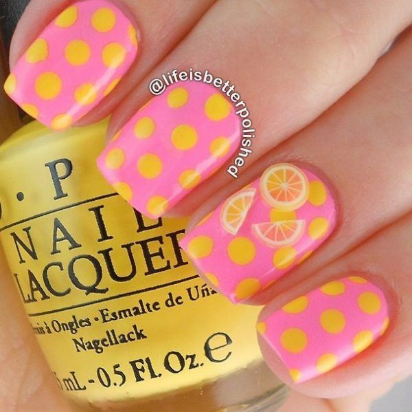 summer lemonade polka dots nails bmodish