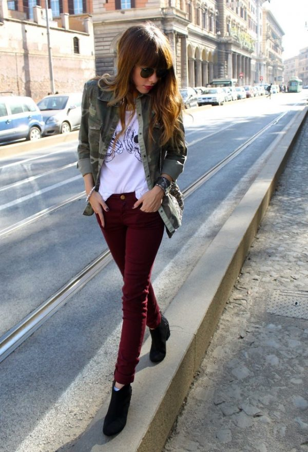 top-outfits-in-wine-and-burgundy-color-top-fashion with military jacket bmodish