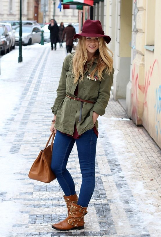 zara-blue-hermes-jeans with military jacket fall winter fashion bmodish