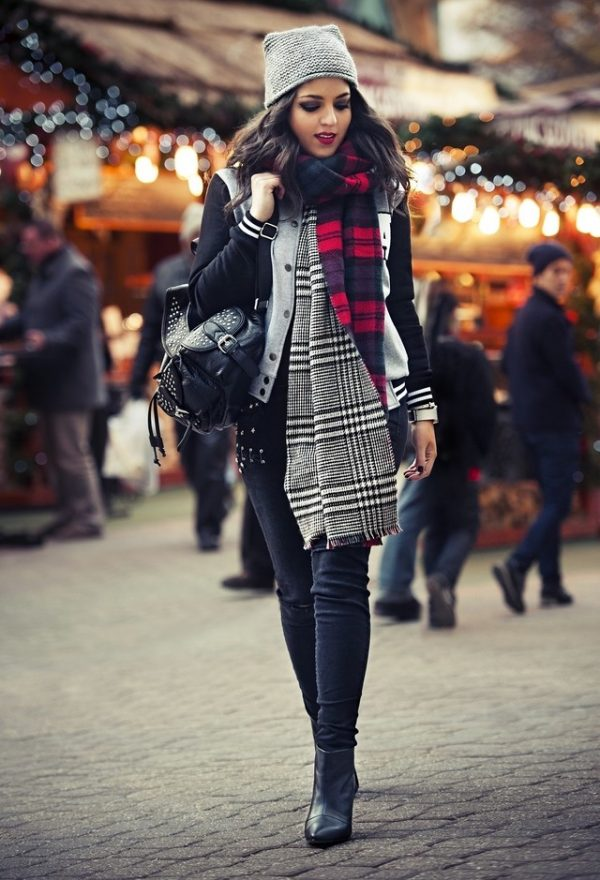 zara-gray-reserved-hats with plaid tartan scarf fall winter fashion bmodish