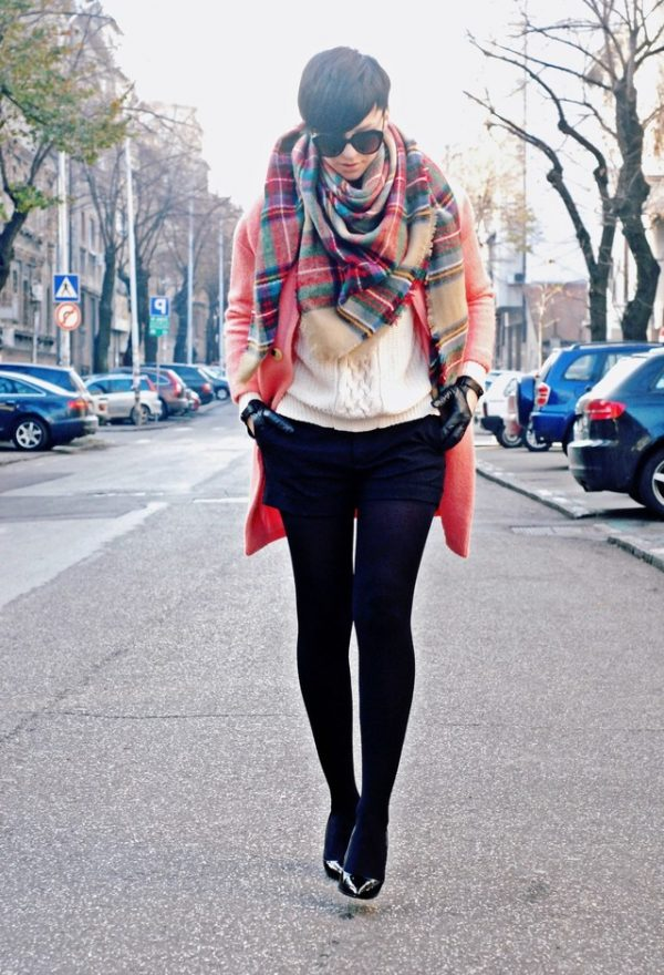 zara-white-sheinside-sweaters with tartan plaid scarf bmodish