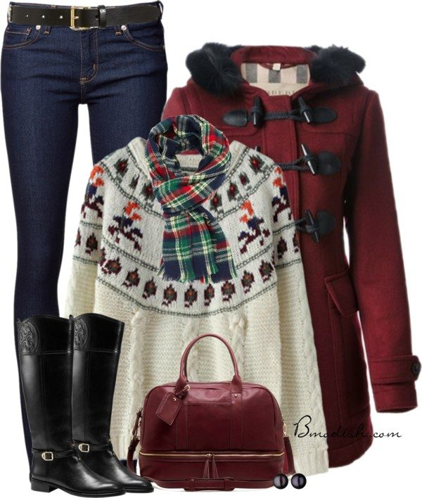 Burberry duffle coat winter outfit polyvore idea bmodish