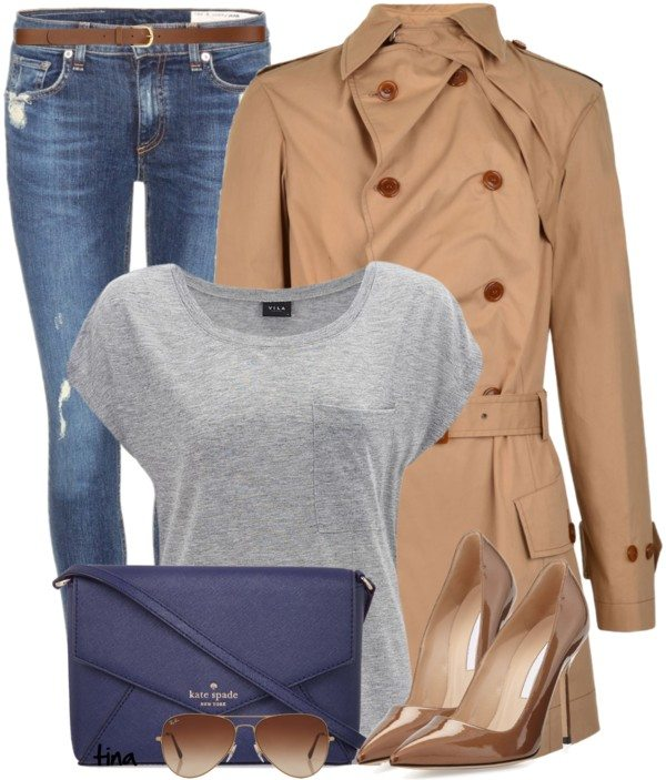 Casual trench coat, jeans and grey skirt outfit bmodish