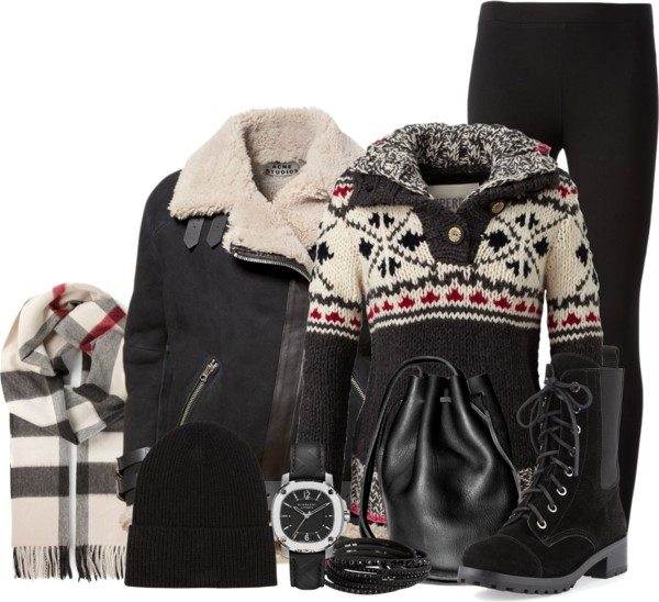 Cozy black shearling jacket polyvore winter outfit bmodish