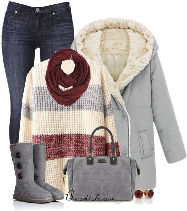 Cozy coat winter outfit with ugg boots bmodish