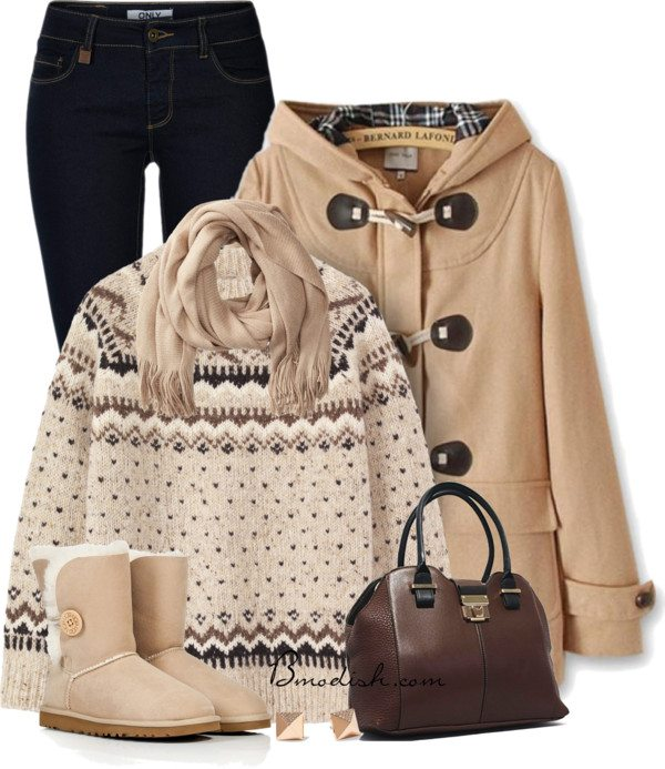 Cozy creme duffle coat winter outfit bmodish