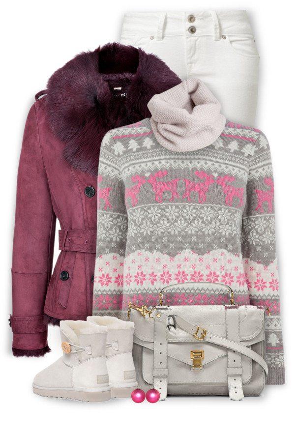 Cute cozy pink burgundy winter outfit idea bmodish