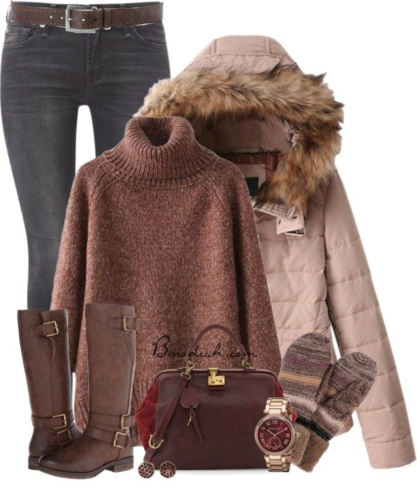 Pink parka cozy polyvore winter outfit bmodish