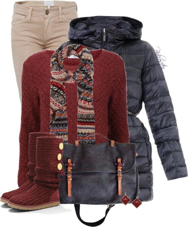 Printed Jeans with a Sweater winter outfit bmodish