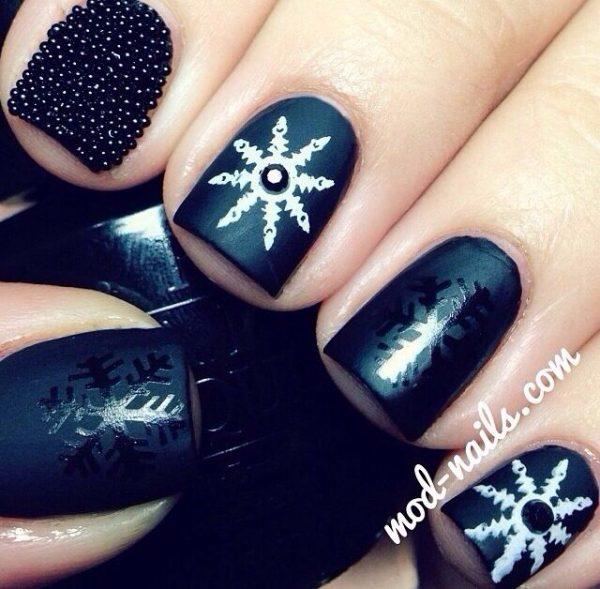 black matte snowflake nailart bmodish