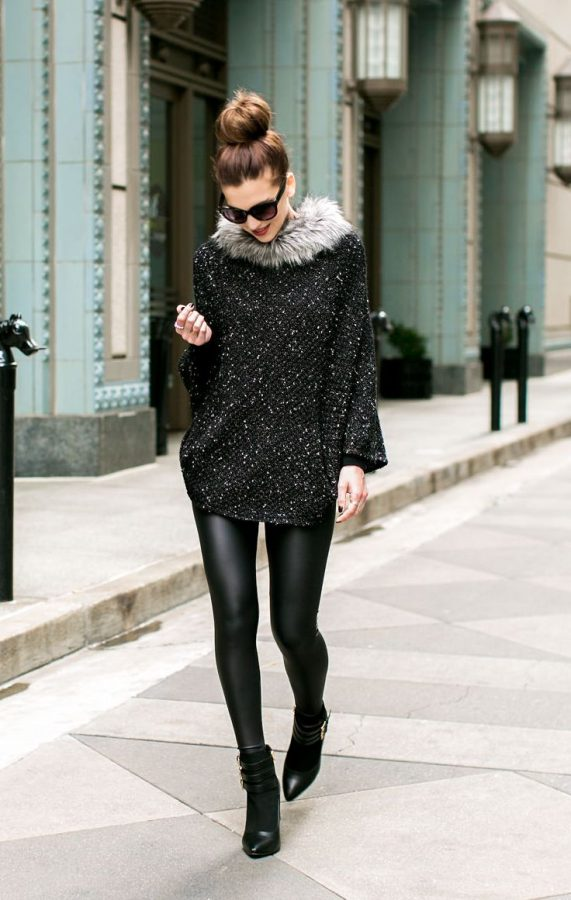 black sequin faux fur outfit bmodish