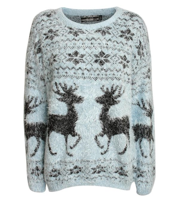 blu-dusty-fluffy christmas sweater bmodish