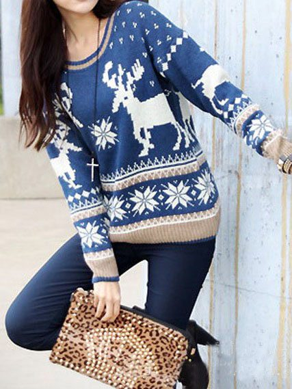 blue-christmas-deer-snow-flower-printing-knitted-pullovers-ugly-sweater bmodish