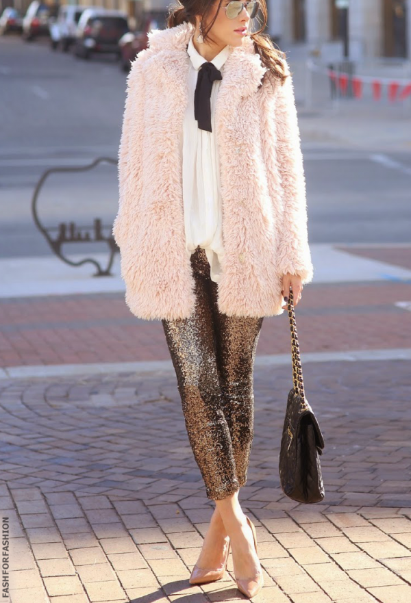 blush shearling coat with sequin pants bmodish