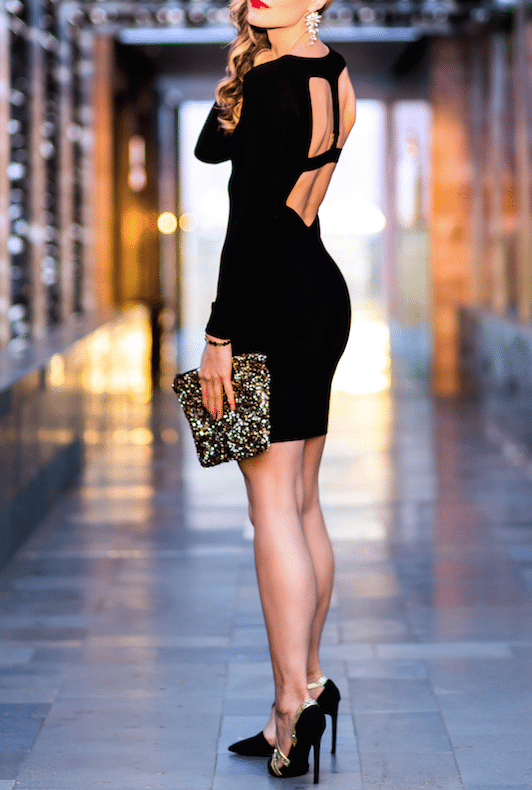 carolinebergeriksen glitter clutch with bodycon dress bmodish