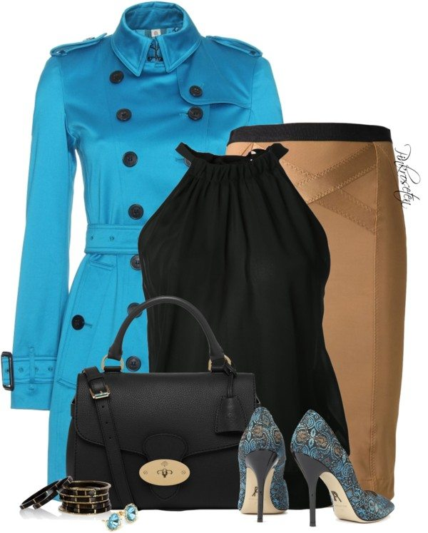 classy blue trench coat outfit idea bmodish