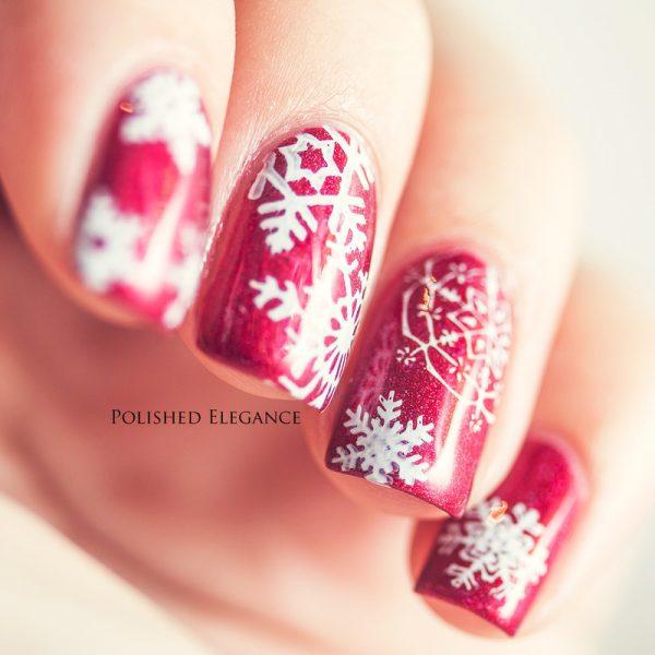 classy red snowflakes nailart bmodish