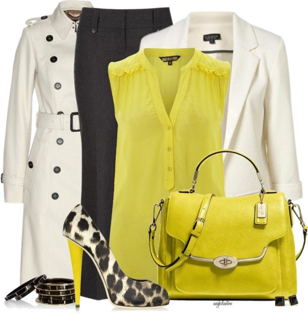 classy white trench coat with yellow blouse polyvore outfit bmodish