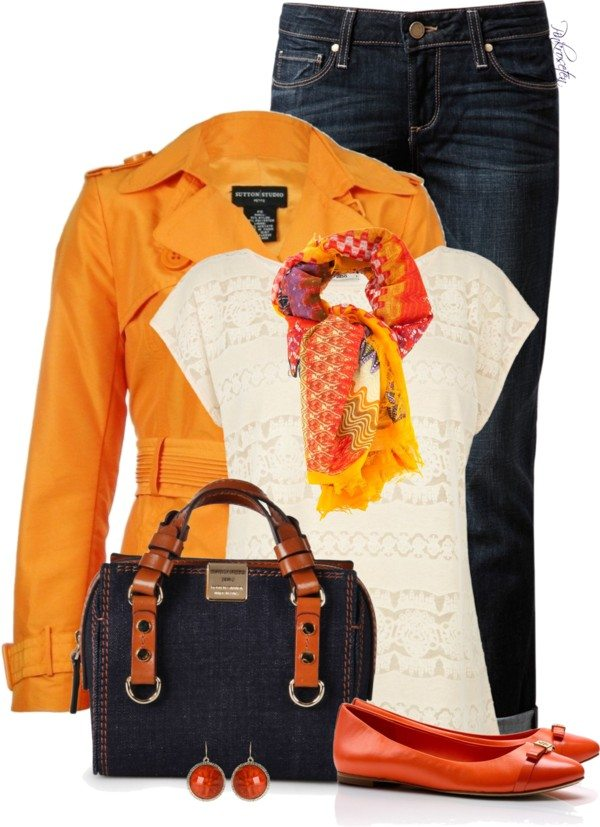 cute orange trench coat casual outfit bmodish