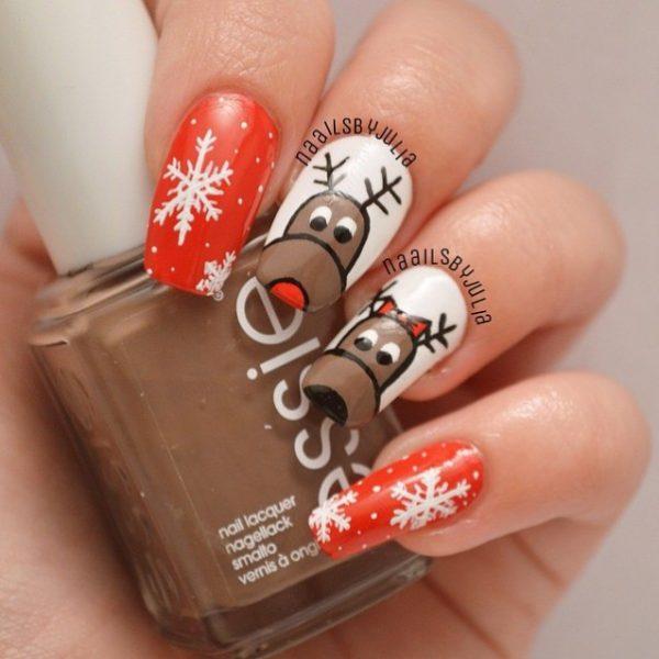 Cute Reindeer Christmas Nailart Bmodish