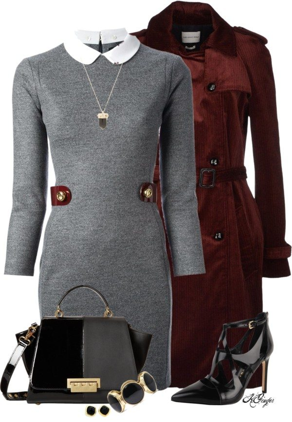 elegant Maroon Trench Coat polyvore fall outfit bmodish