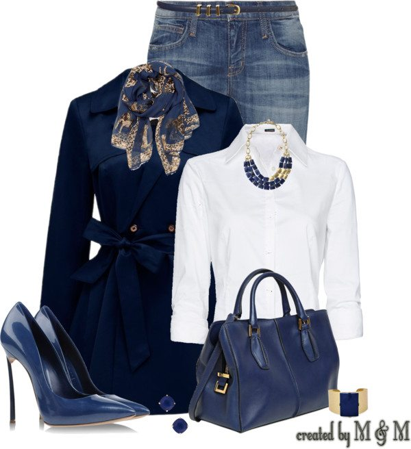 elegant navy blue trench coat fall outfit bmodish
