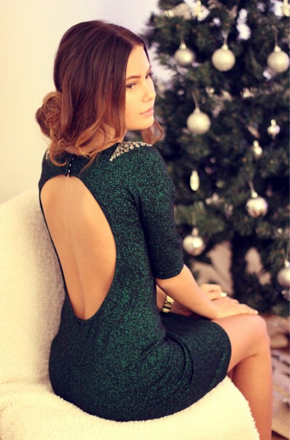 forest green glitter dress bmodish