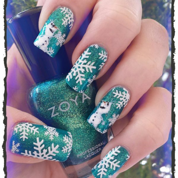 glitter green snowflakes nails bmodish