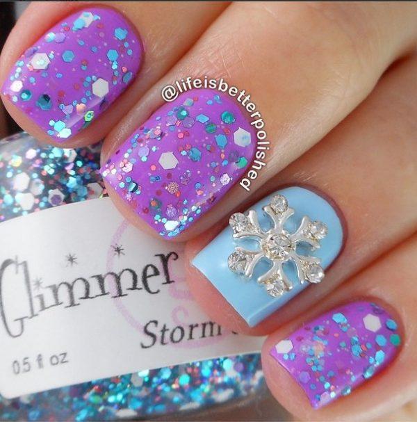 glitter snowflakes nails bmodish