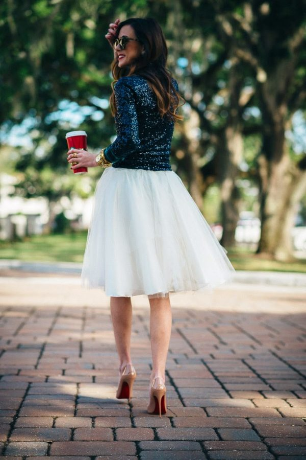 glitter top with tulle skirt outfit bmodish
