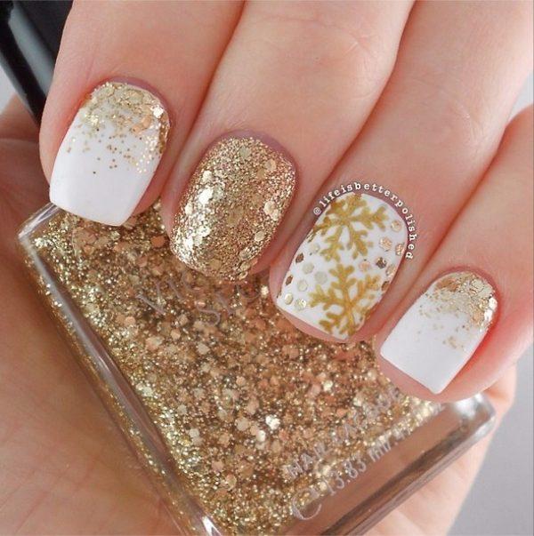 gold snowflake nail art bmodish