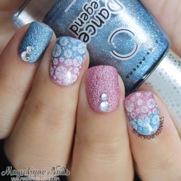 gradient snowflakes winter nail art bmodish