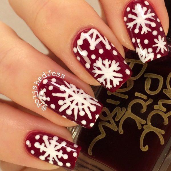 hand painted snowflakes nailart bmodish