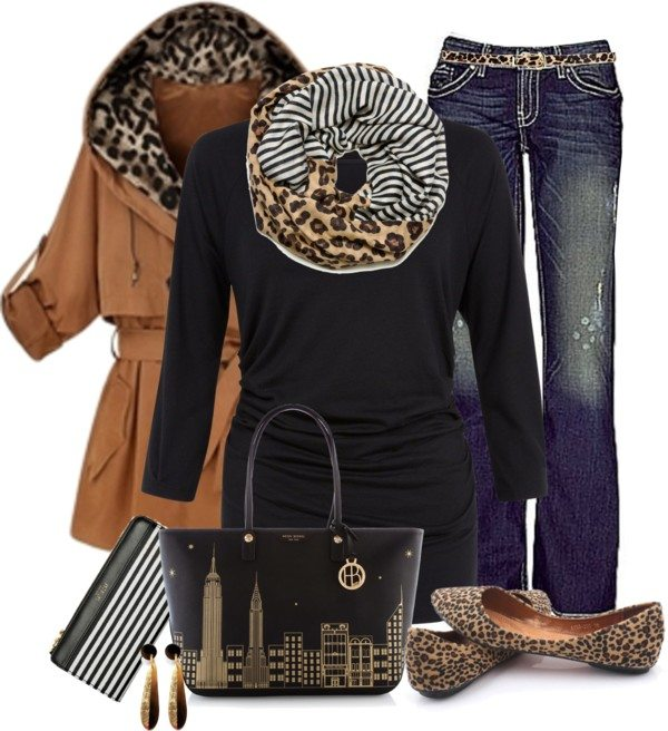 leopard hooded trench coat polyvore outfit bmodish
