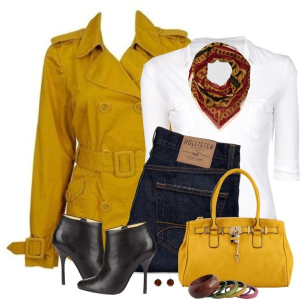 mustard trench coat casual fall outfit bmodish