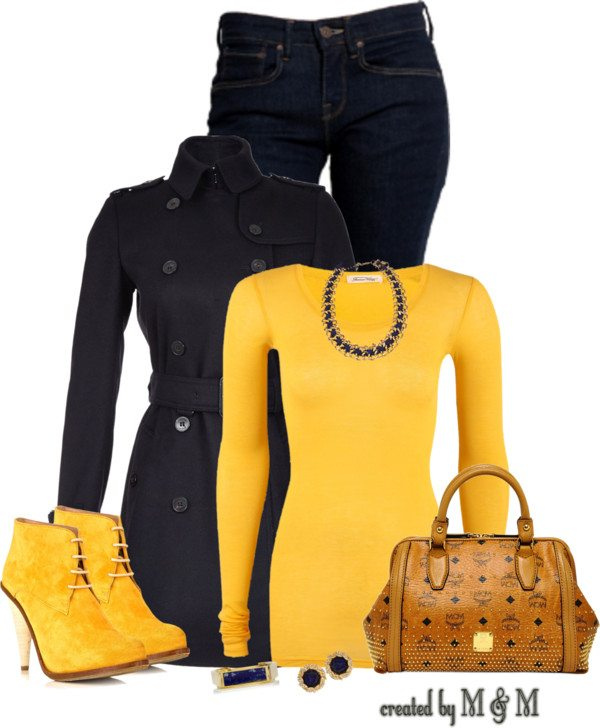 navy and yellow fall outfit combination bmodish
