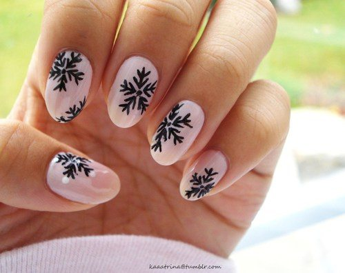 33 beautiful snowflake nail art designs be modish pink black snowflakes nailart bmodish prinsesfo Image collections