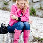 pink blazer with pink hunter boots fall fashion bmodish