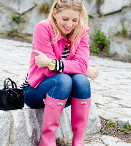 pink blazer with pink hunter boots fall fashion bmodish
