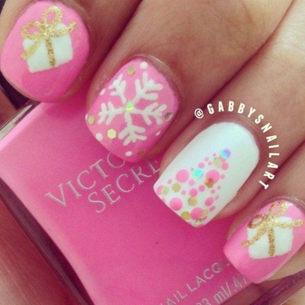 pink cute christmas nail designs